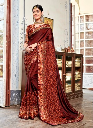 Classic Saree Patch Border Faux Georgette in Brown