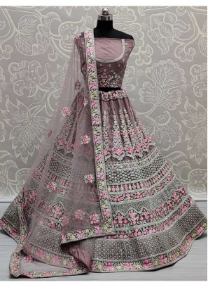 Classic Thread - Zari Work On Net Bridal Lehenga Choli In Peach Violet