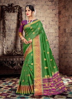 Classical Cotton Silk Weaving Green Designer Traditional Saree