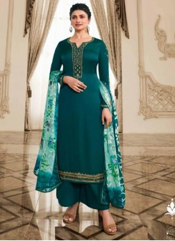 Classy Embroidered Georgette Pakistani Suit in Teal