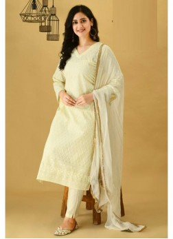 Classy Off White Cotton Kurti & Cotton Pant & Pure Chiffon Handwork Dupatta