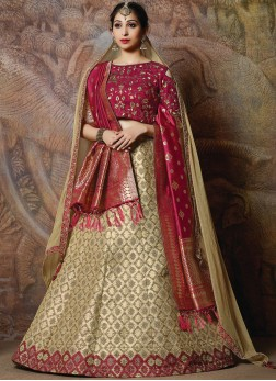 Classy Silk Embroidered Cream Designer Lehenga Choli