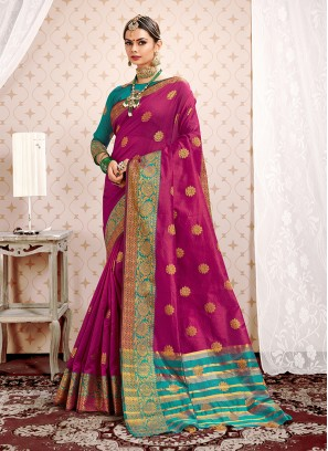 Classy Weaving Art Silk Magenta Designer Traditional Saree