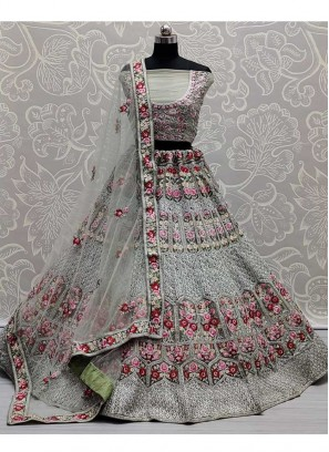Colorful Flower Patterned Designer Multi Embroidered Flaired Lehenga Choli In Pista