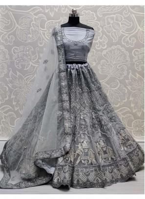 Comfort Dori & Thread Work On Net Bridal Lehenga choli in Grey