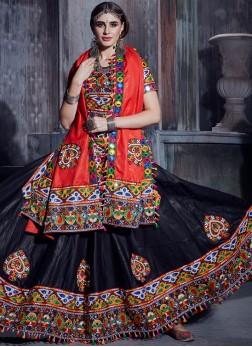 Compelling Black Print Trendy Lehenga Choli