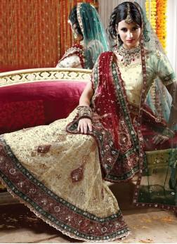 Compelling Cream Net Lehenga Choli