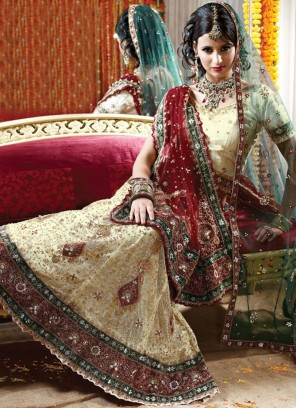 Compelling Cream Net Hand embroidered Lehenga Choli with Zardosi work