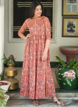 Compelling Digital Print Party Readymade Trendy Gown