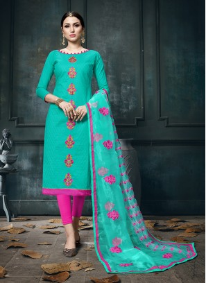 Competent Cotton Festival Designer Straight Suit