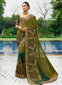 Competent Georgette Green Embroidered Classic Saree