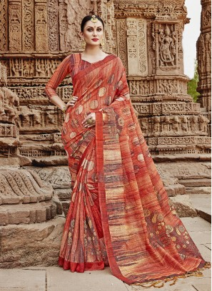 Competent Multi Colour Khadi Silk Printed Saree