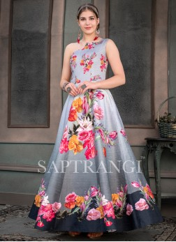 Competent Print Multi Colour Designer Gown