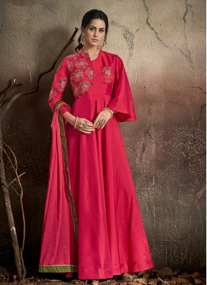 Congenial Art Silk Embroidered Magenta Designer Gown
