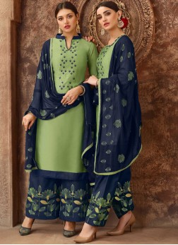 Congenial Green Party Designer Salwar Kameez