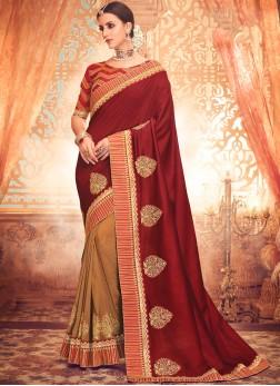 Congenial Maroon Resham Classic Saree