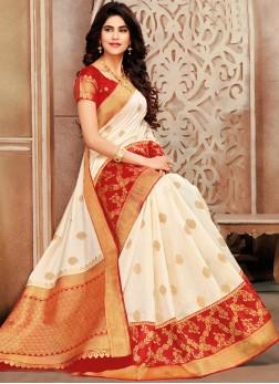 Congenial Red and White Art Silk Traditional Saree
