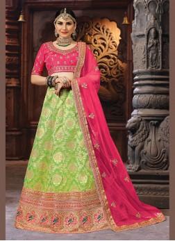 Conspicuous Green Banarasi Silk Designer Lehenga Choli