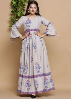 Conspicuous Print Cotton Party Wear Kurti