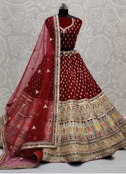 Contemporary Color Combination in Thread Work Designer Bridal Lehengacholi In Maroon