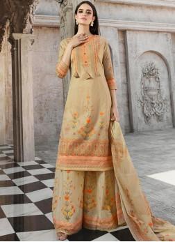Cotton Beige Palazzo Designer Salwar Kameez