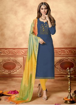 Cotton Blue Embroidered Designer Straight Suit