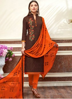 Cotton Brown Embroidered Churidar Suit