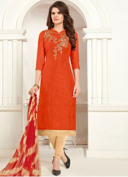Cotton Embroidered Churidar Suit in Orange