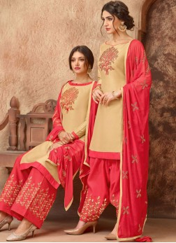 Cotton Embroidered Designer Salwar Suit in Beige