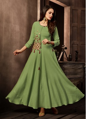 Cotton Embroidered Green Designer Kurti