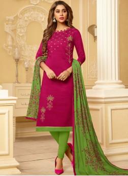 Cotton Embroidered Magenta Churidar Suit