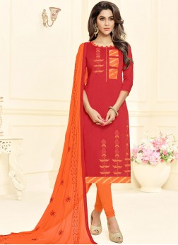 Cotton Embroidered Red Churidar Suit