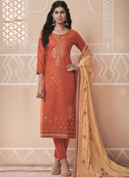 Cotton Embroidered Salwar Kameez in Rust