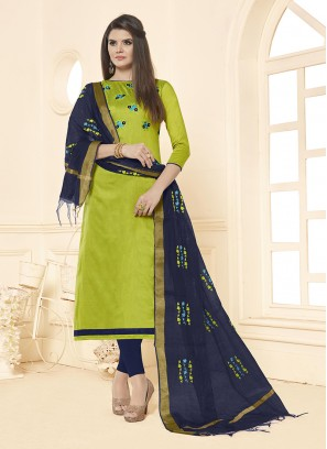 Cotton Embroidered Salwar Suit in Green