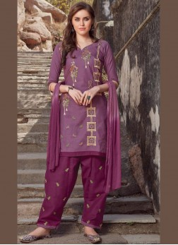 Cotton Embroidered Salwar Suit in Magenta