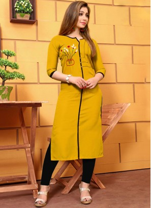 Cotton Embroidered Yellow Party Wear Kurti
