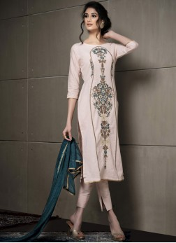 Cotton Pant Style Suit in Peach