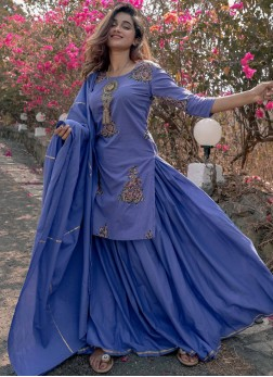 Cotton Party Wear Kurti in Blue