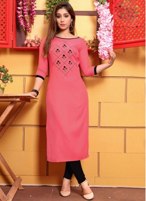 Cotton Pink Party Wear Kurti