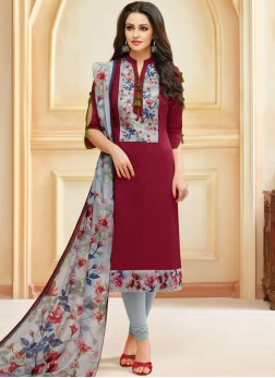 Cotton Print Maroon Churidar Suit