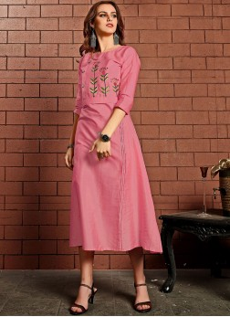 Cotton Satin Pink Embroidered Party Wear Kurti
