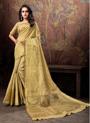Cotton Silk Designer Traditional Saree in Gold