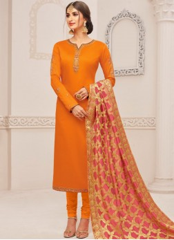 Cotton Silk Embroidered Churidar Suit in Orange