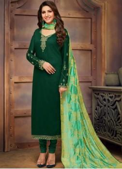 Cotton Silk Embroidered Green Churidar Designer Suit
