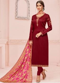 Cotton Silk Maroon Churidar Salwar Kameez