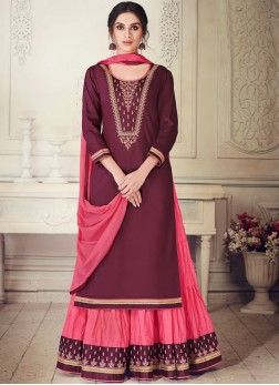 Cotton Silk Maroon Designer Lehenga Choli