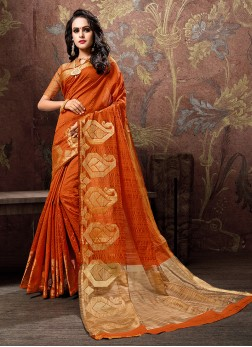 Cotton Silk Orange Woven Traditional Saree