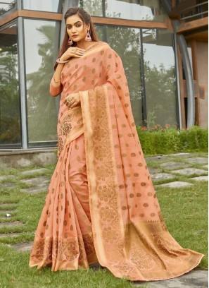 Cotton To Handloom Woven Banarasi Saree In Wheat