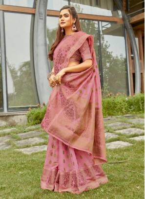 Cotton To Woven Banarasi Saree In Pink