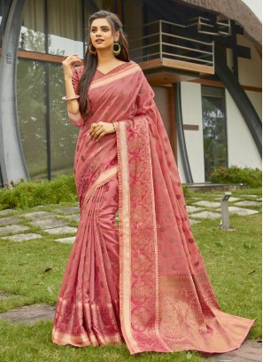 Cotton To Woven Banarasi Saree In Salmon Pink